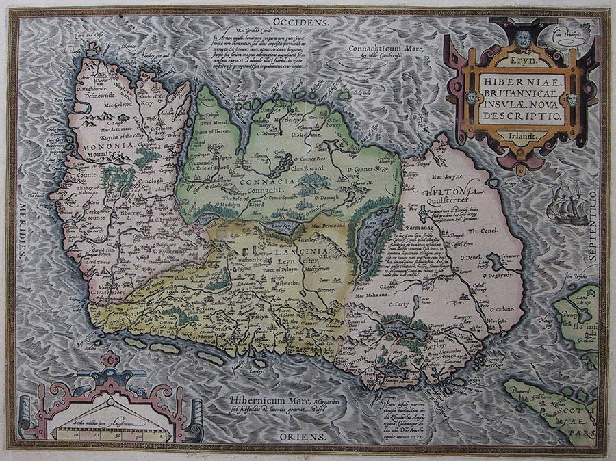 Vintage Map Of Ireland - 1592 Drawing
