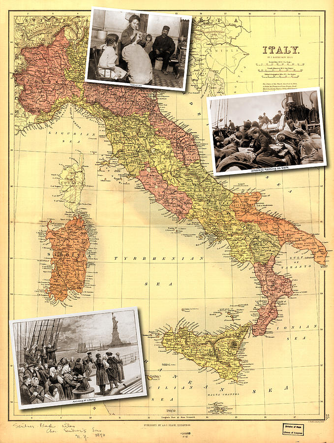 Statue Of Liberty Photograph - Vintage Map of Italy Genealogy Map by Karla Beatty