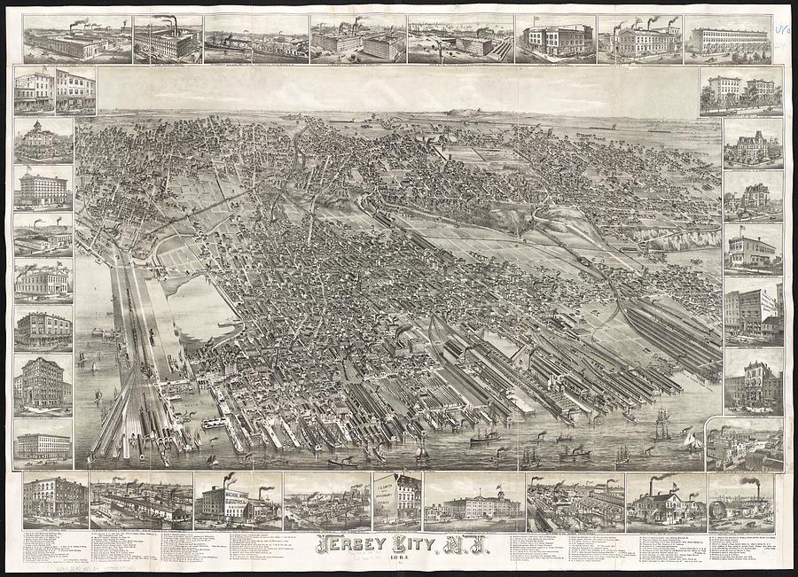 Vintage Map Of Jersey City Nj Drawing By CartographyAssociates - Map of jersey city