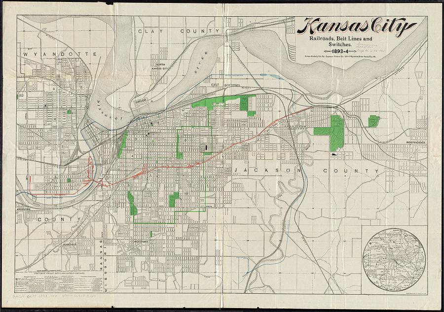 Vintage Map Of Kansas City - 1893 Drawing by CartographyAssociates