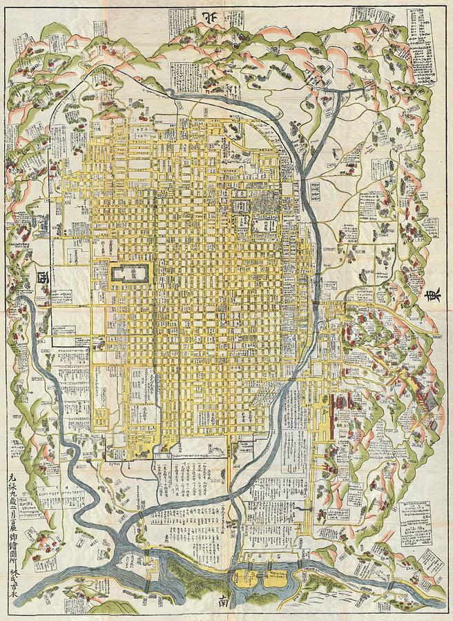 Vintage Map Of Kyoto Japan Drawing By CartographyAssociates - Japan map drawing