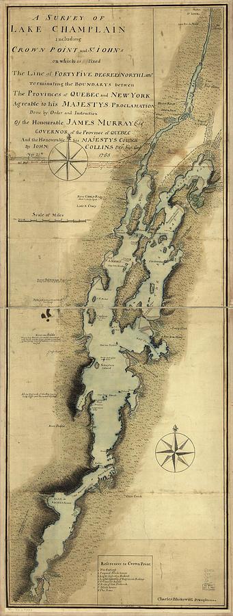 Vintage Map Of Lake Champlain - 1865 Drawing