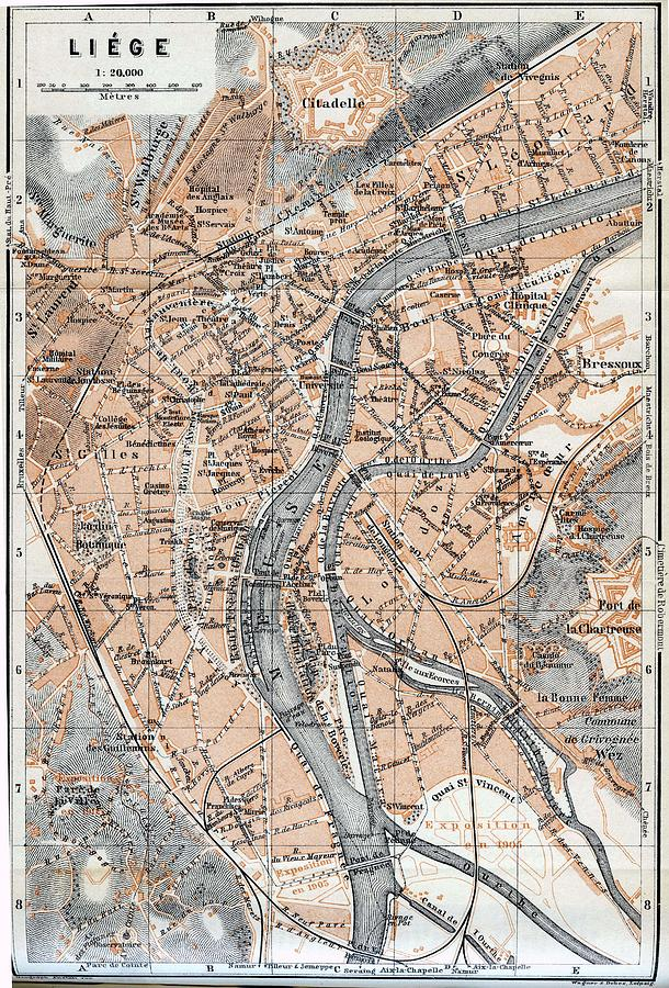 liege drawing vintage map of liege belgium 1905 by cartographyassociates