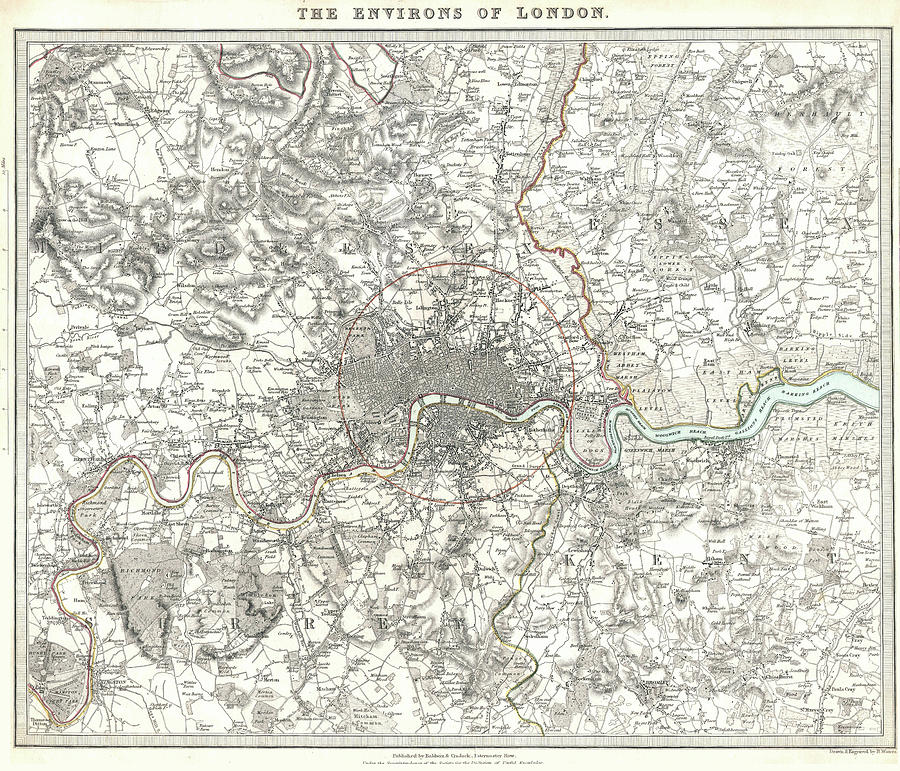 Vintage Map Of London England - 1832 Drawing