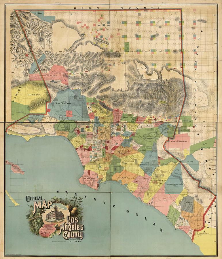 Vintage Map Of Los Angeles County Ca   1888 Drawing by