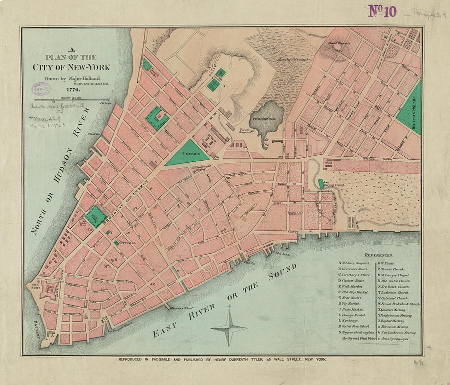 Vintage Map Of Lower Manhattan - 1776 Drawing