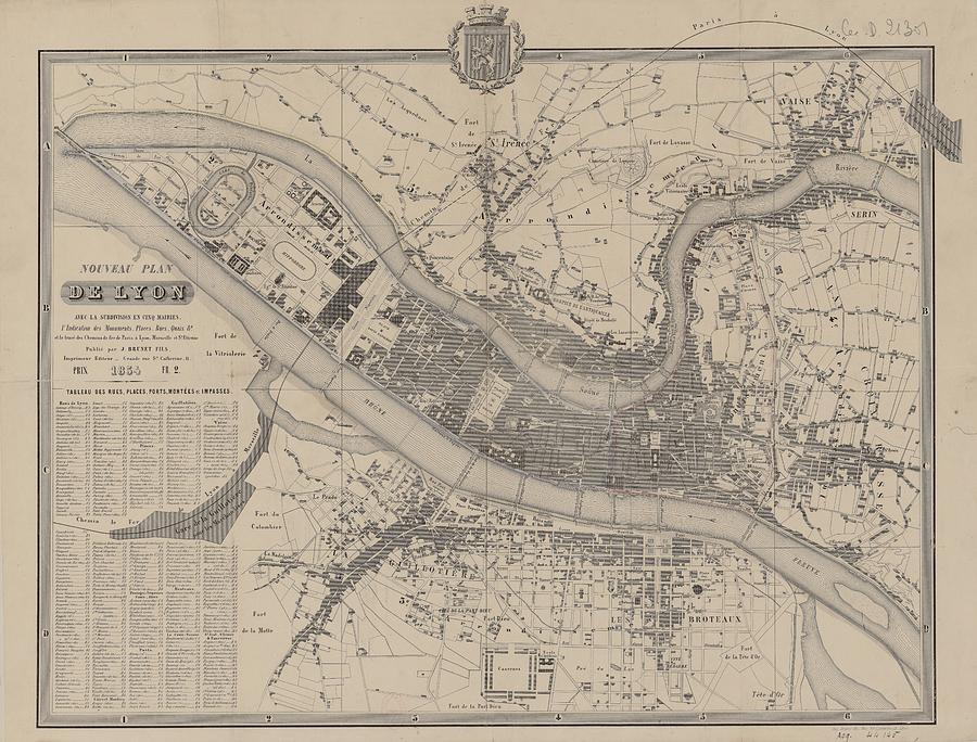 Vintage Map Of Lyon France - 1854 Drawing