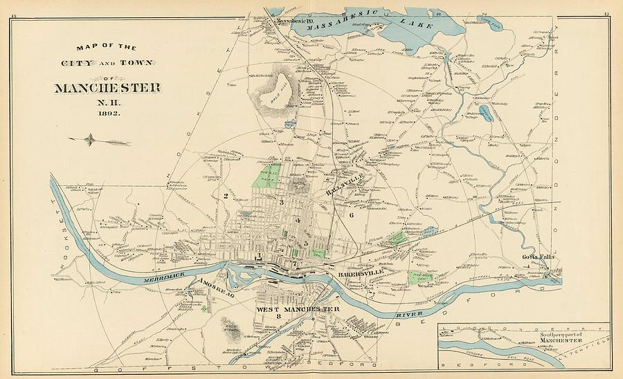 Vintage Map Of Manchester Nh - 1892 Drawing by CartographyAssociates