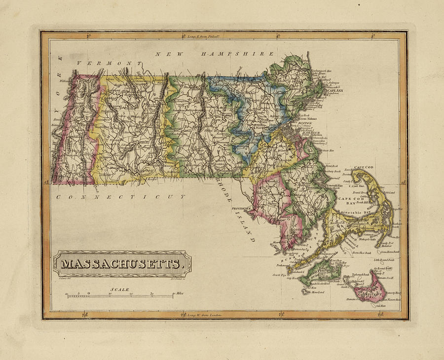 19th Century Painting - Antique Map Of Massachusetts by Fielding Lucas