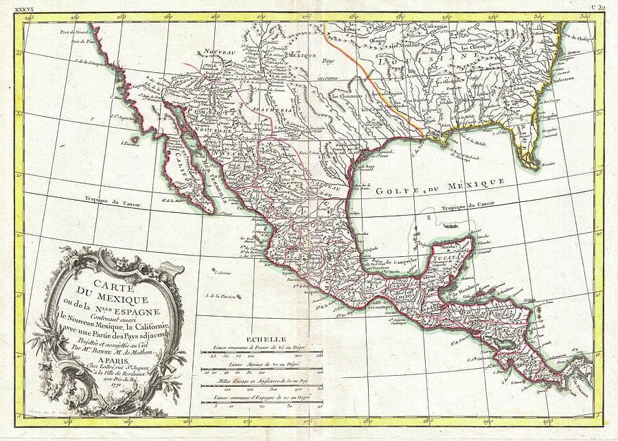 vintage map of mexico 1771 drawing by cartographyassociates