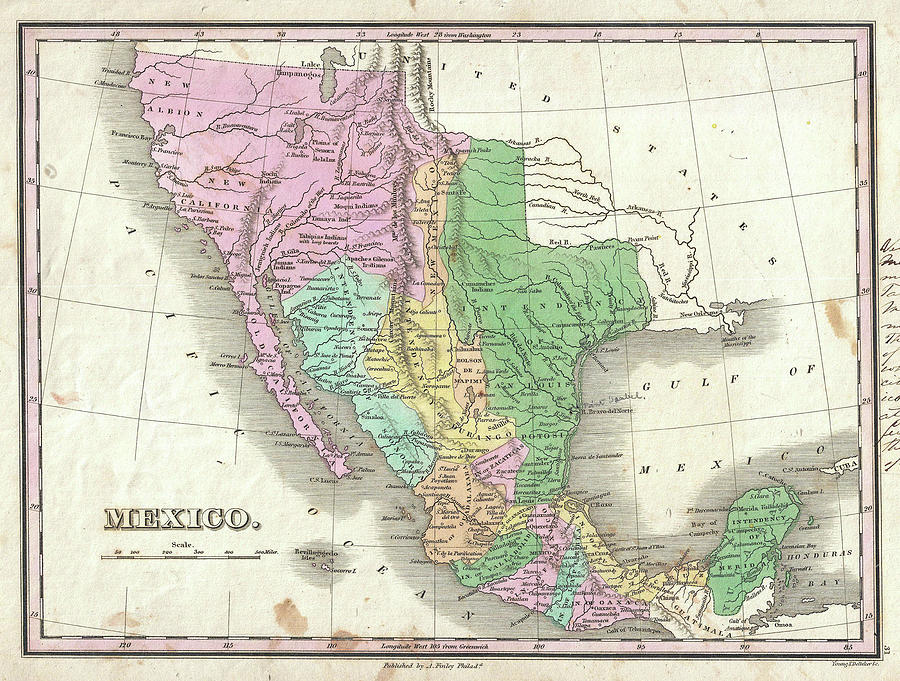 vintage map of mexico 1827 drawing by cartographyassociates