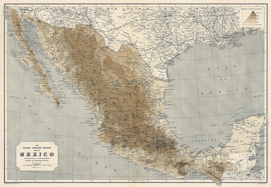 vintage map of mexico 1911 national geographic drawing by blue