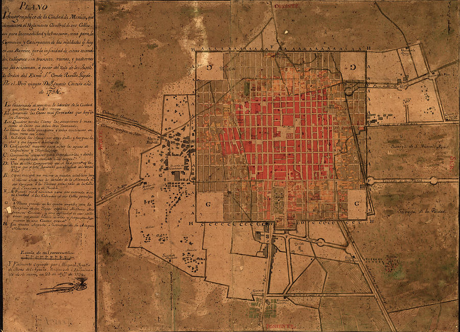 Vintage Map Of Mexico City Mexico - 1800 Drawing by ...