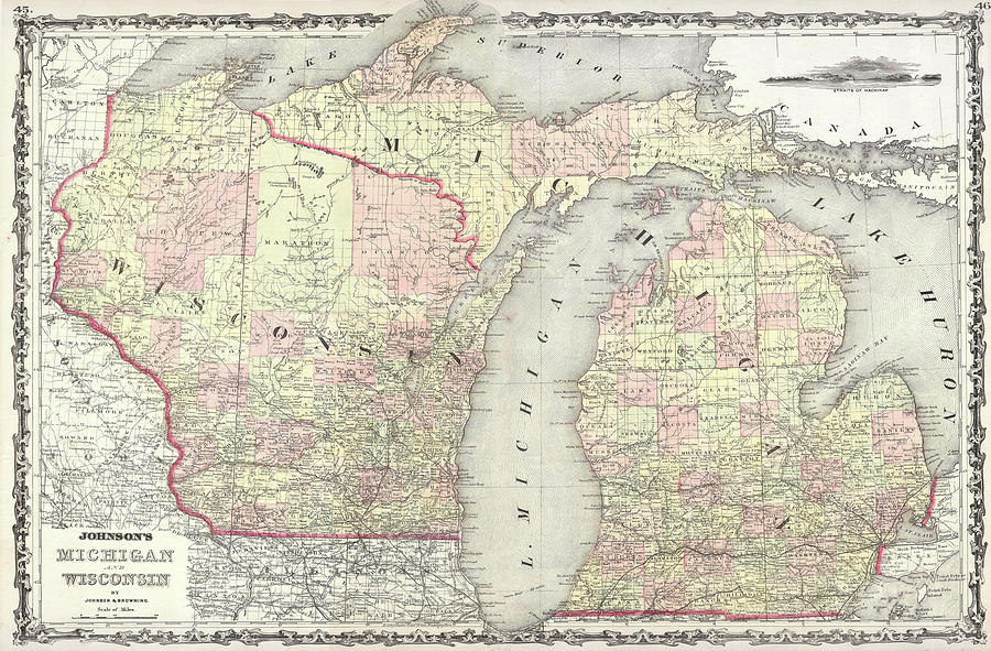 Michigan And Wisconsin Map.Vintage Map Of Michigan And Wisconsin 1862 Drawing By