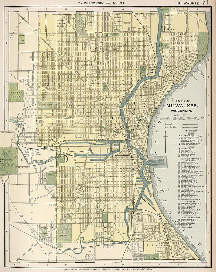 Vintage Map Of Milwaukee Wisconsin Drawing By - Vintage milwaukee map