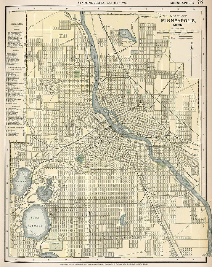 Vintage Map Of Minneapolis Mn Drawing By CartographyAssociates - Vintage minneapolis map