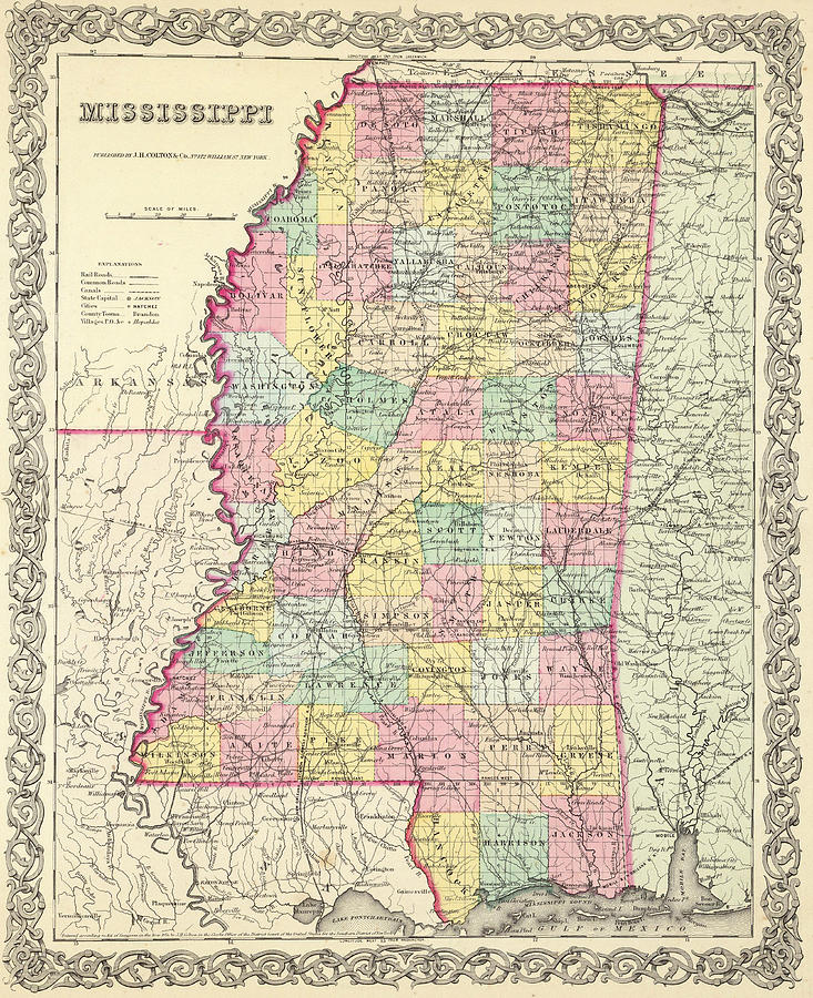 Vintage Map Of Mississippi Drawing By CartographyAssociates - Map of mississippi