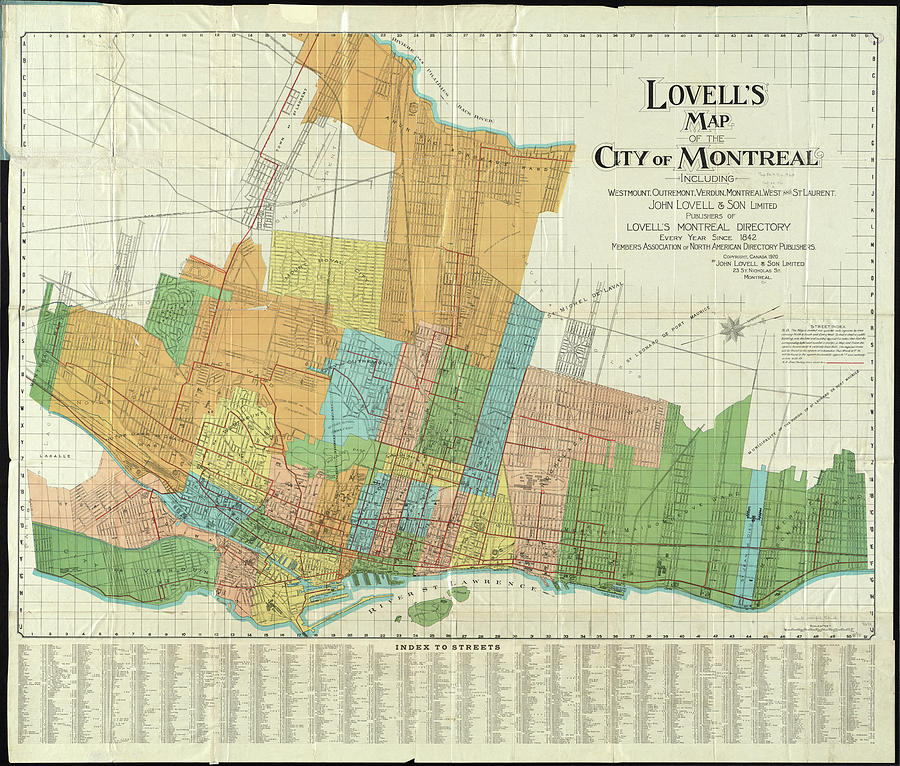 Vintage Map Of Montreal - 1920 Drawing by CartographyAssociates