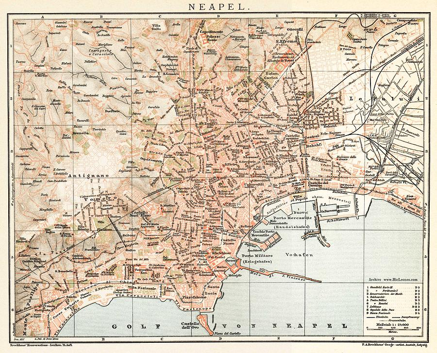 Vintage Map Of Naples Italy