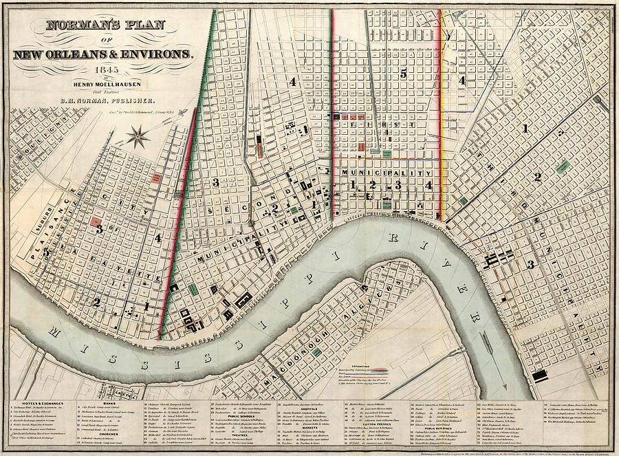 vintage new orleans map Vintage Map Of New Orleans Louisiana 1845 Drawing By vintage new orleans map