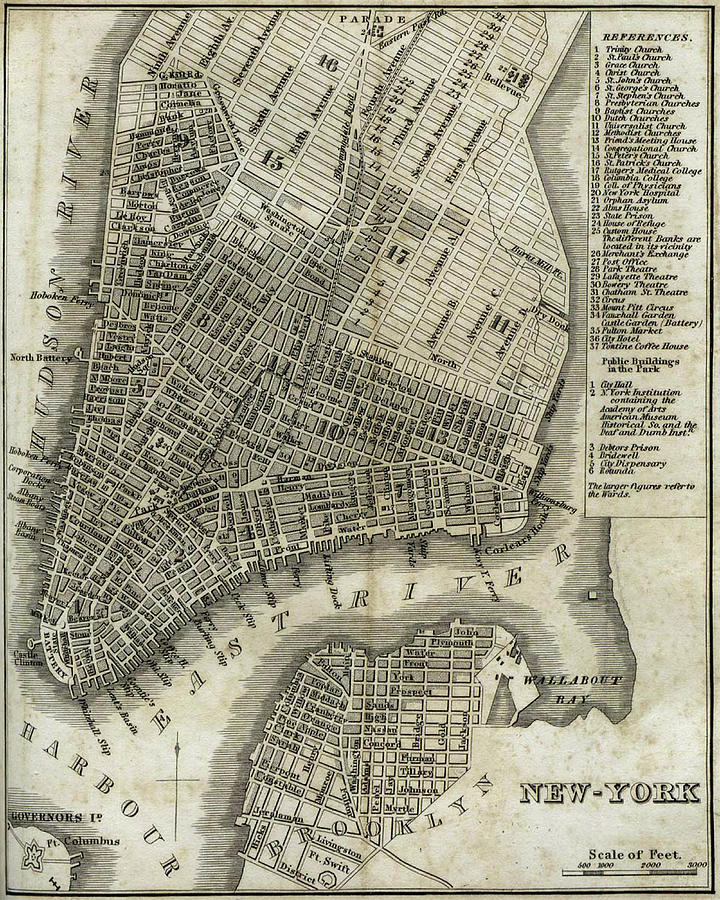 Vintage Map Of New York City 1842 Drawing