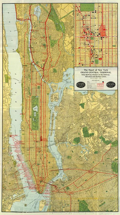Vintage New York City Subway Map.Vintage Map Of New York City 1918 By Cartographyassociates