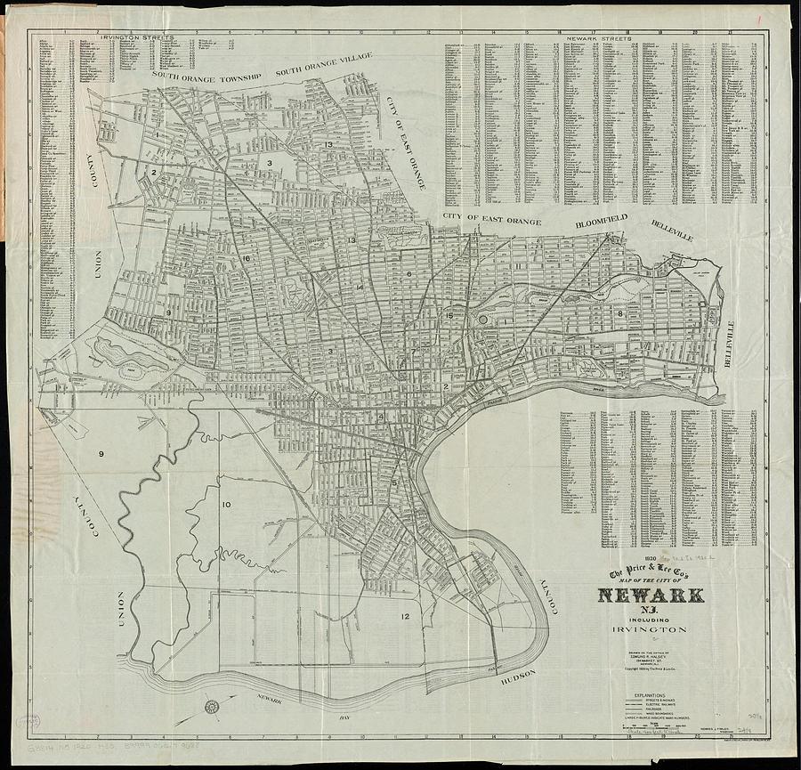 Vintage Map Of Newark Nj - 1920 Drawing