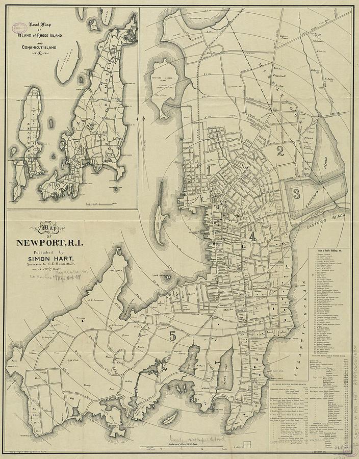 Vintage Map Of Newport Rhode Island - 1901 Drawing
