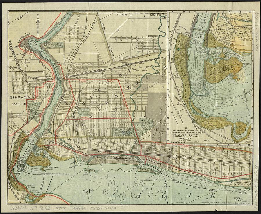 Vintage Map Of Niagara Falls Ny 1893