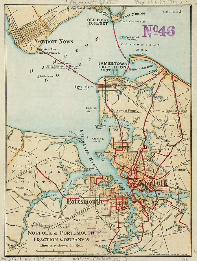 Vintage Map Of Norfolk And Portsmouth Va - 1919 Drawing