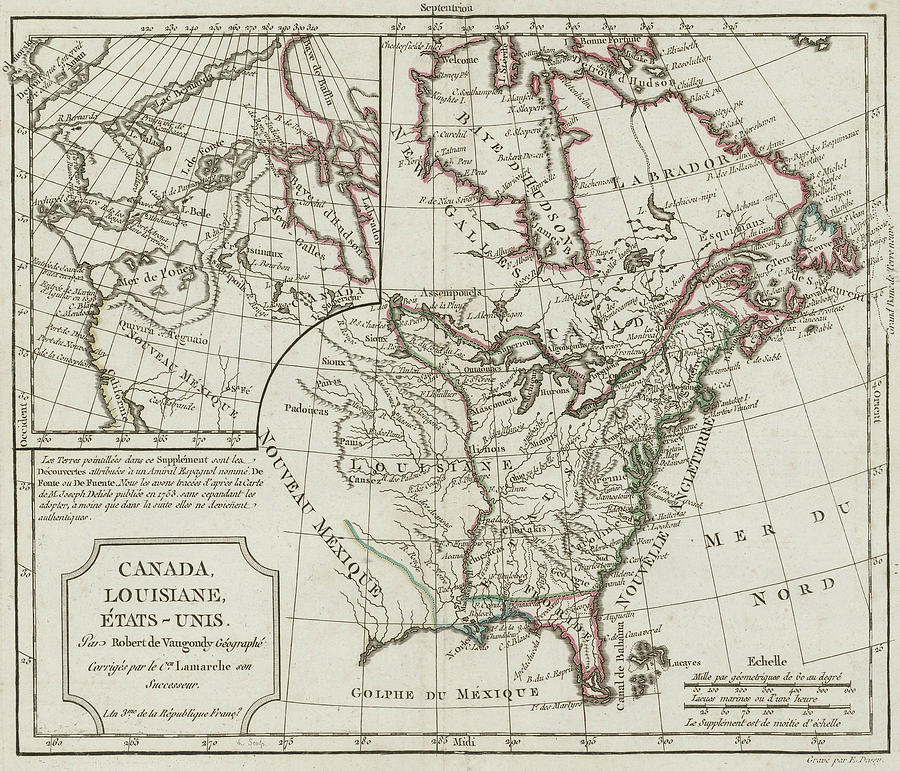 Vintage Map Of North America - 1795 Drawing