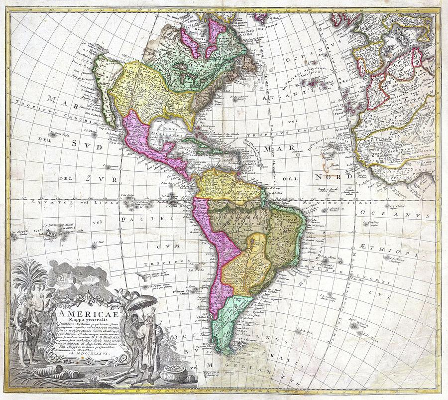Vintage Map Of North And South America - 1746