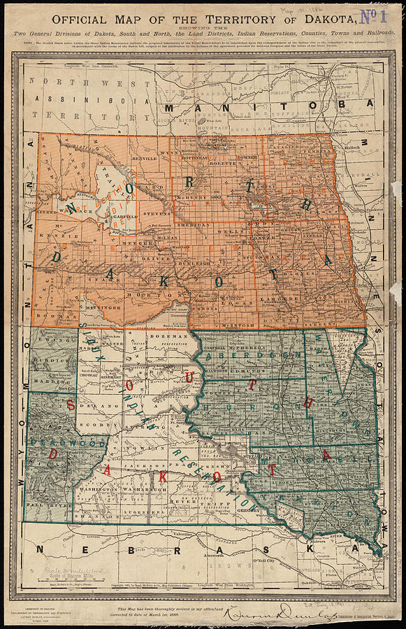 Vintage Map Of North And South Dakota - 1886 Drawing by ...