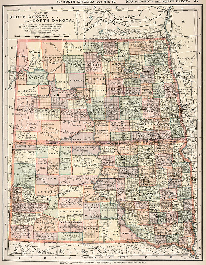 Vintage Map Of North And South Dakota - 1891 Drawing by ...