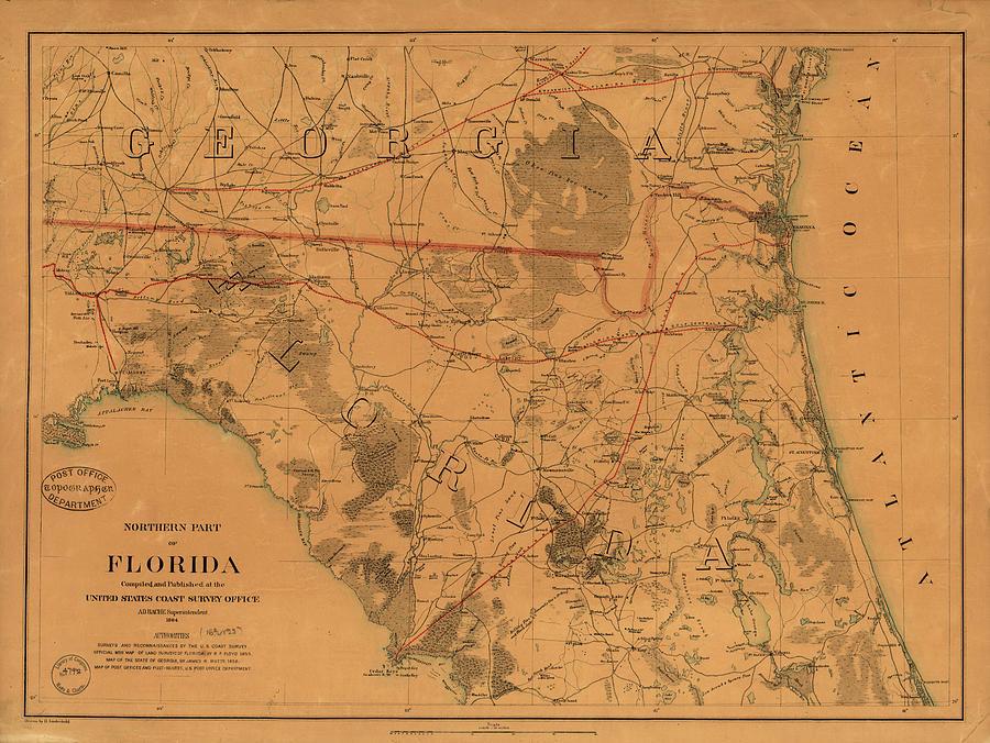 Vintage Map Of Northern Florida - 1864 Drawing