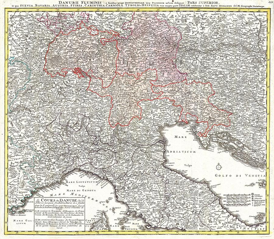 Vintage Map Of Northern Italy Drawing by Adam Shaw