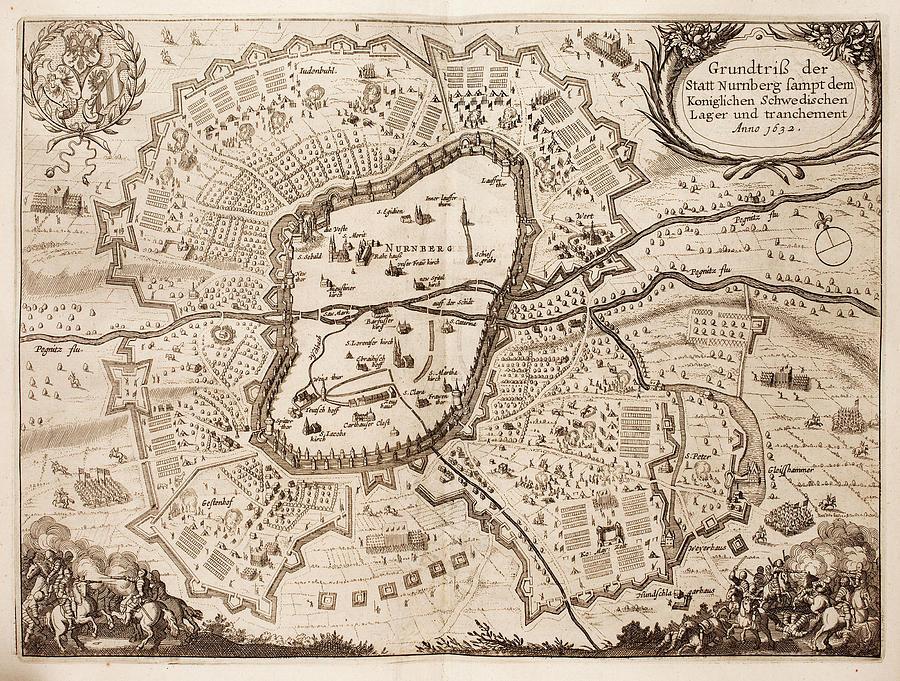Vintage Map Of Nuremberg Germany - 1642 Drawing