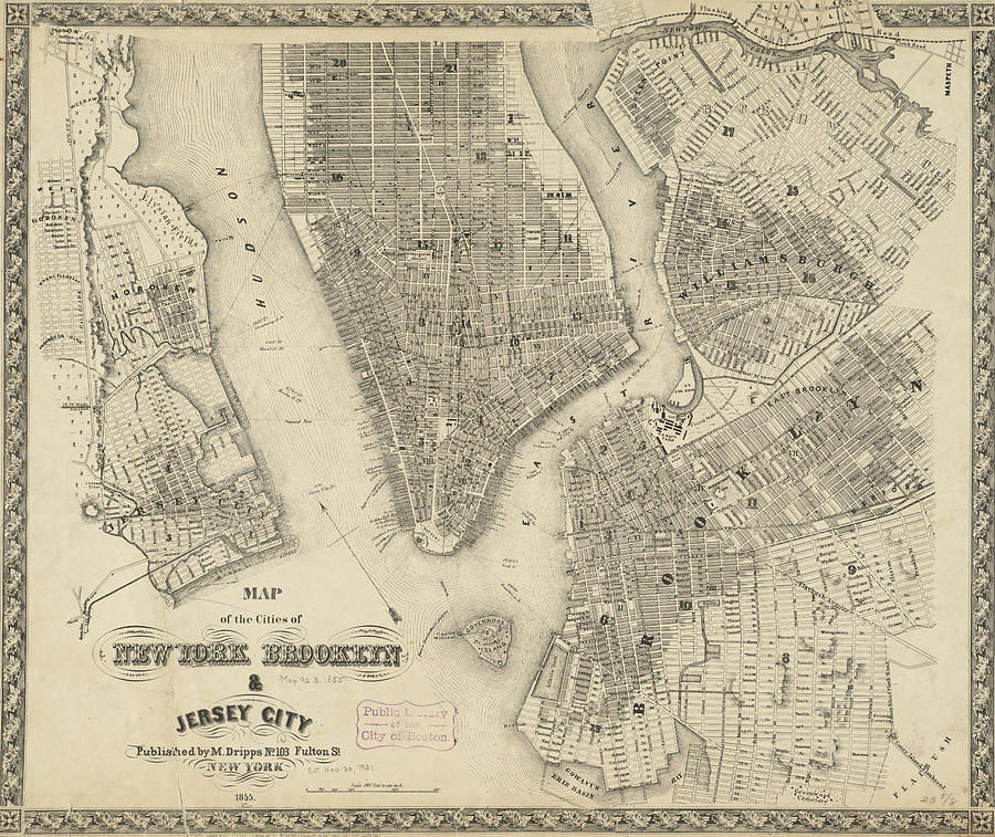 Vintage Map Of New York City Vintage Map of NYC and Brooklyn   1855 Drawing by