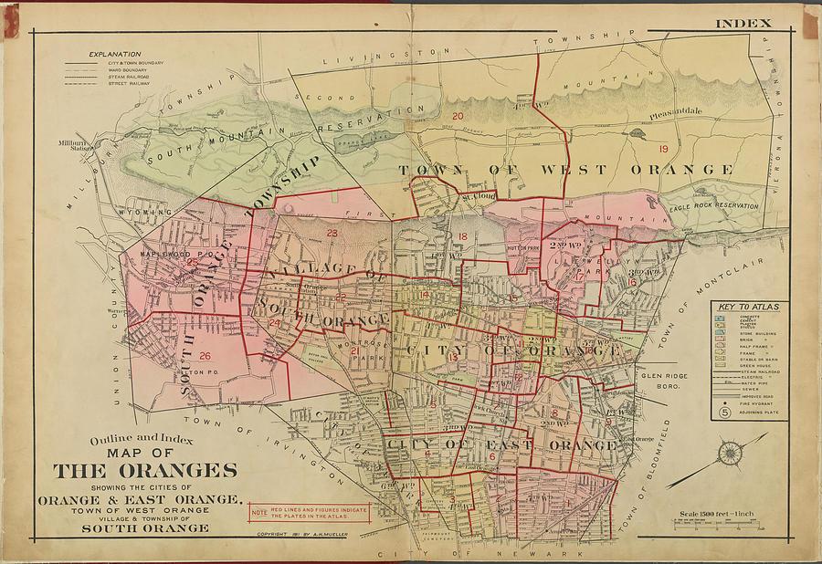 Vintage Map Of Orange Nj - 1911 Drawing