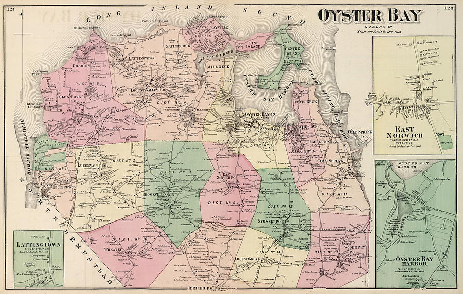 Oyster Bay New York Map.Vintage Map Of Oyster Bay New York 1873 Drawing By