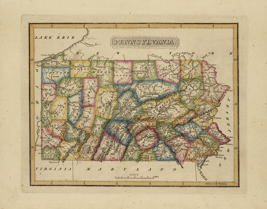 19th Century Painting - Antique Map Of Pennsylvania by Fielding Lucas