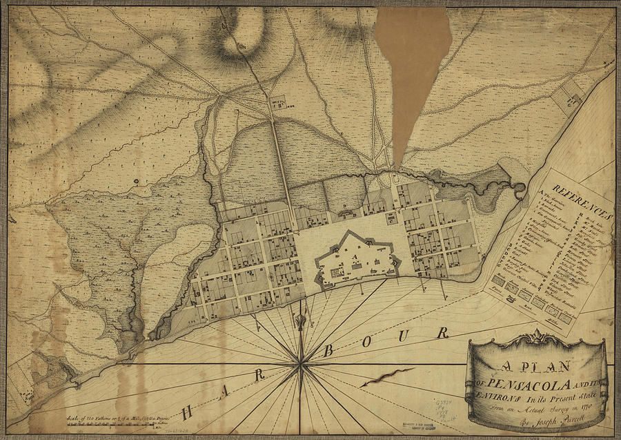 Map Pensacola Florida.Vintage Map Of Pensacola Florida 1778 Drawing By Cartographyassociates