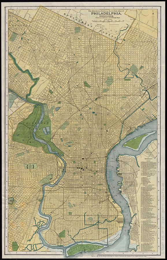 Vintage Map Of Philadelphia Pa - 1895