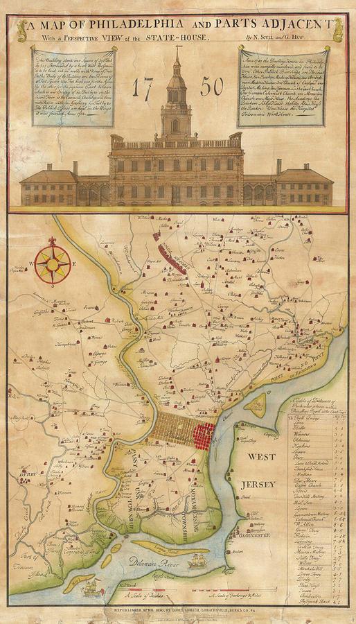 Vintage Philadelphia Map Vintage Map Of Philadelphia Pennsylvania   1750 Drawing by