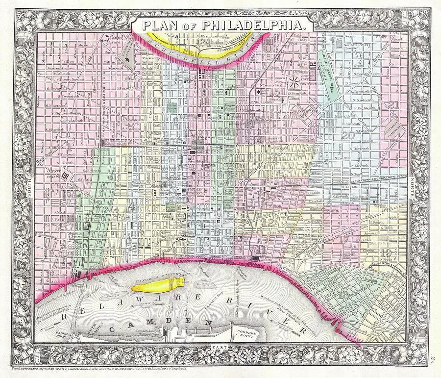 Vintage Map Of Philadelphia Pennsylvania - 1860