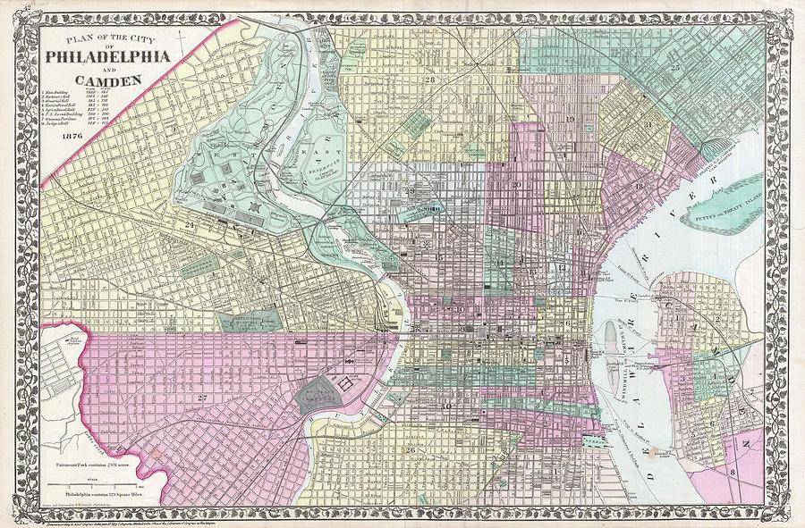 Vintage Map Of Philadelphia Pennsylvania - 1876