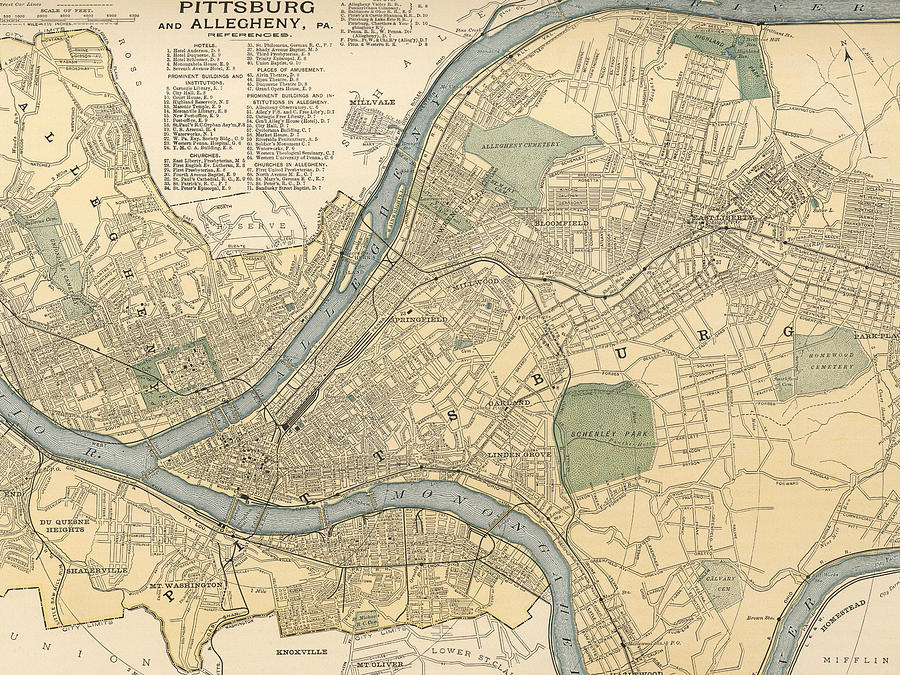 Vintage Map Of Pittsburgh Pa - 1891