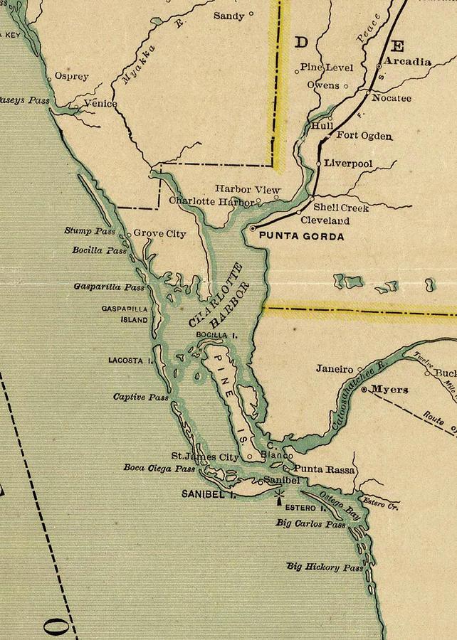Map Of Port Charlotte Florida.Vintage Map Of Port Charlotte Florida 1896 Drawing By