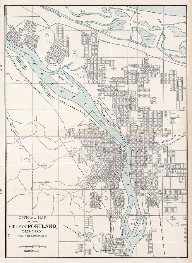 Vintage Oregon Map.Vintage Map Of Portland Oregon 1901 Drawing By