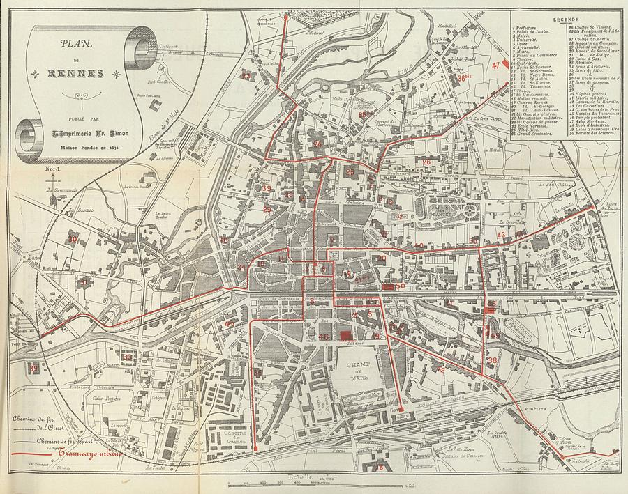 Vintage Map Of Rennes France 1905 Drawing By